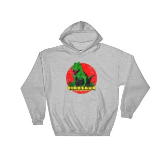 Retro T-Rex Dinosaur Hoodie Vintage Tyrannosaurus Rex Hooded Sweatshirt (grey)