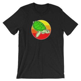 Retro Sea Turtle T-Shirt 1980s Beach Design (black)