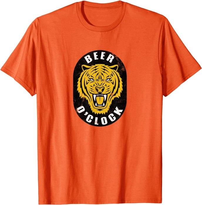"Retro Beer Tiger ""Beer O'Clock"" Vintage Brew T-Shirt"