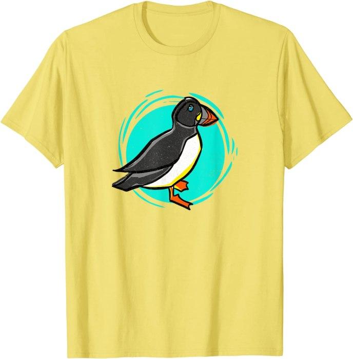 Retro Super Cute Puffin Beach Design T-Shirt