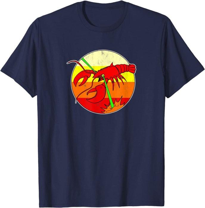 Retro Laser Lobster 80s Future Beach T-Shirt
