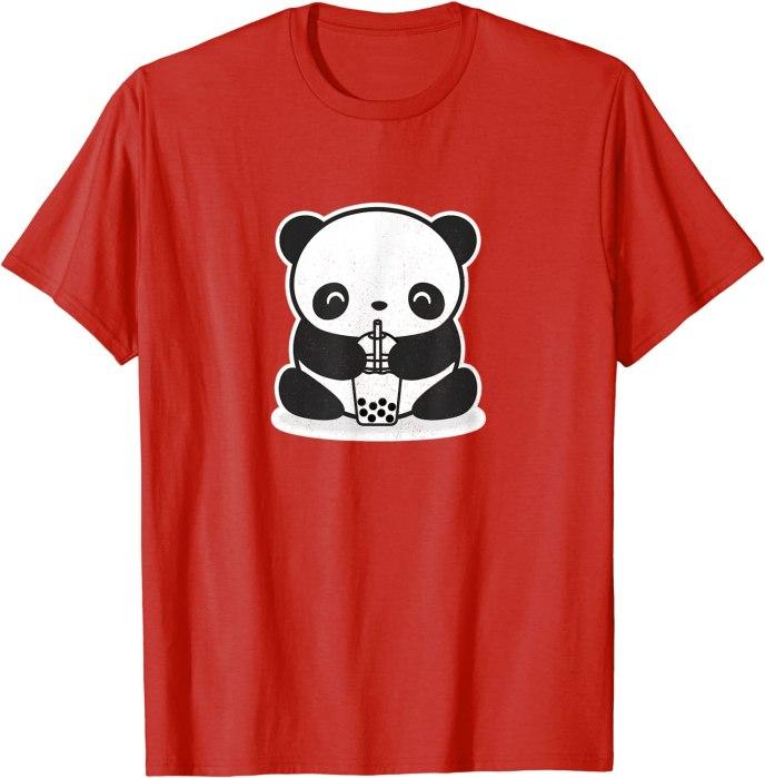 Cute Kawaii Panda Drinking Bubble Tea by Turbo Volcano T-Shirt