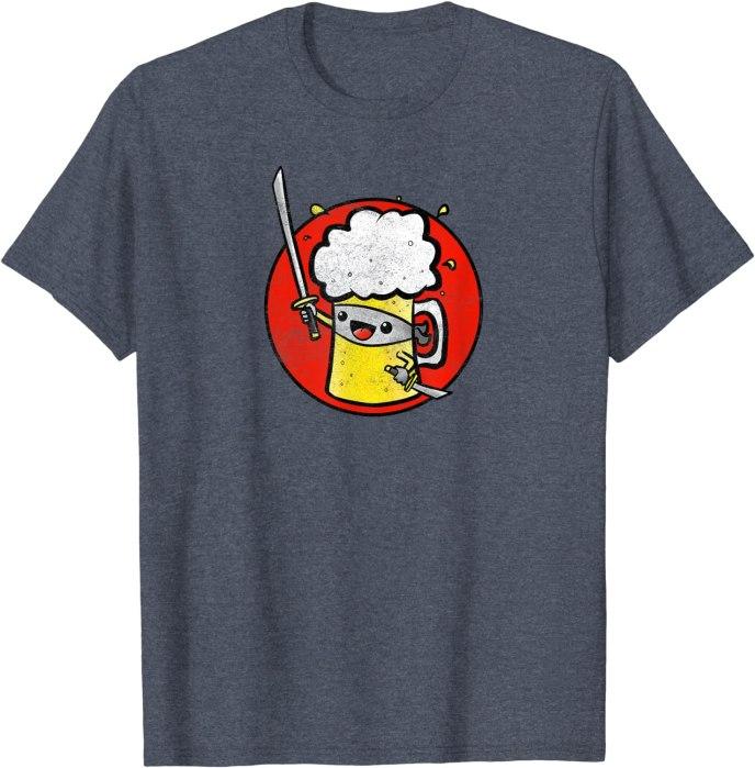 Retro Ninja Beer Vintage Funny Brewing T-Shirt