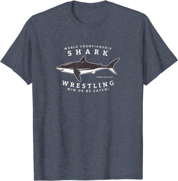 Retro World Champion Shark Wrestling by Turbo Volcano T-Shirt