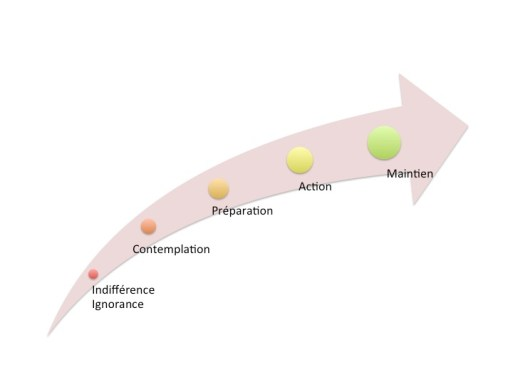 Infographie Nudge marketing 5 etapes du changement de comportement