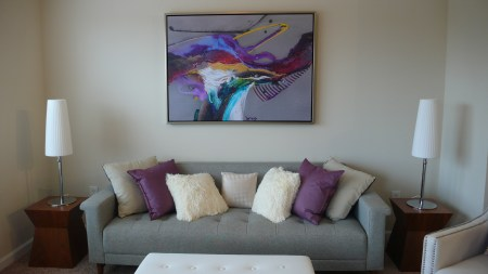 Couch with artwork