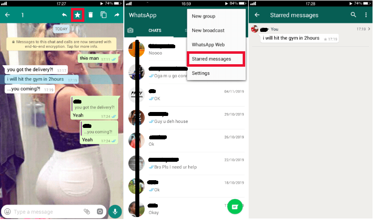 Star any message on Whatsapp
