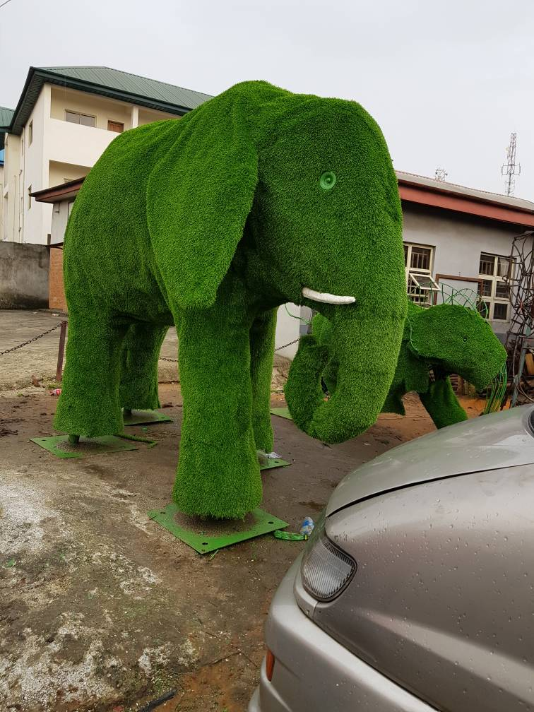 Wrapping of T&G Artificial Grass on Giant Elephant for RVSG Project