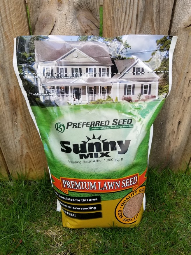 a bag of 50/50 Sports Mix grass seed