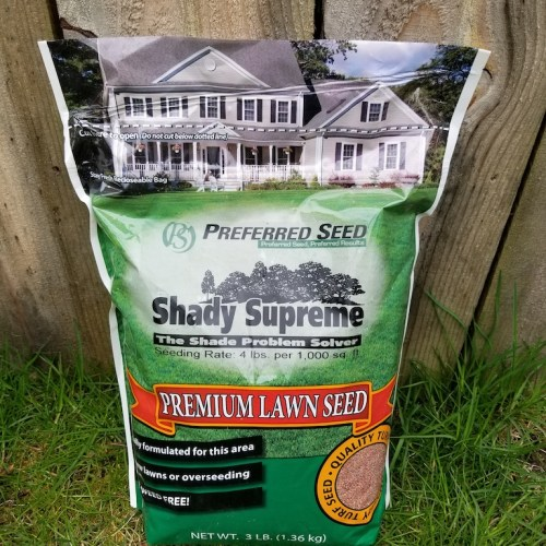 A bag of Shady Supreme grass seed