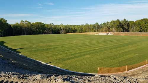 sod installation portfolio image of athletic field in Waterville ME