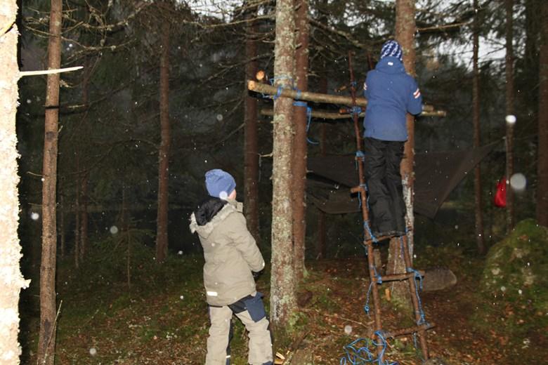 Tormod og Mathias bygger seg et utkikkstårn, men først måtte de lage seg en stige