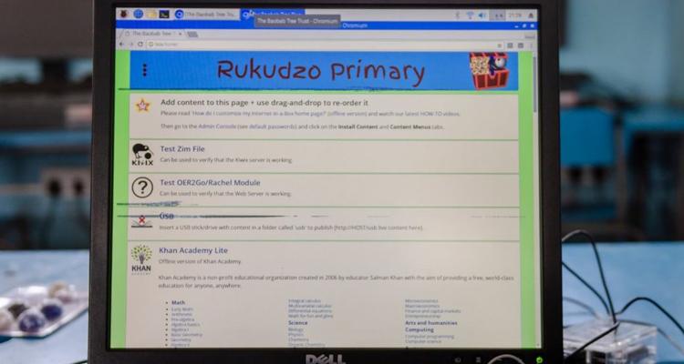 Rapberry Pi and monitor at Rukudzo Primary School