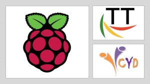 Raspberry Pi foundation, Turing Trust and CYD logos