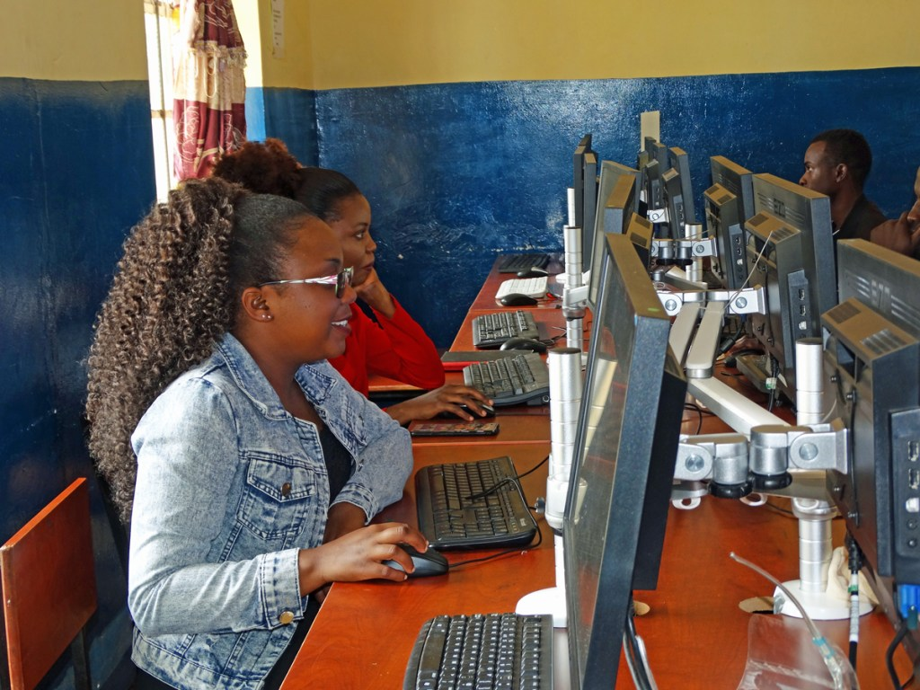 Students in the new computer lab at University of Livingstonia