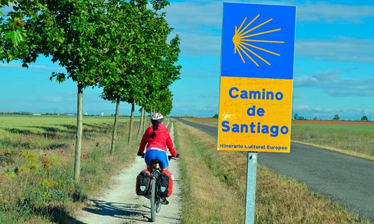 Percurso de bicicleta caminho de Santiago de Compostela