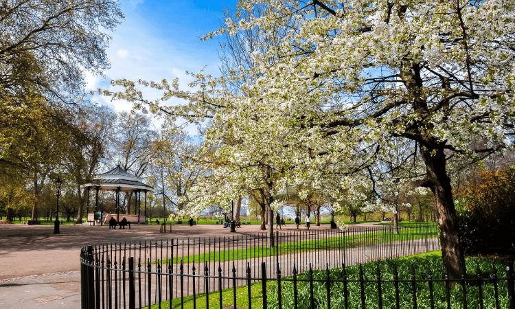 hyde park em londres na primavera