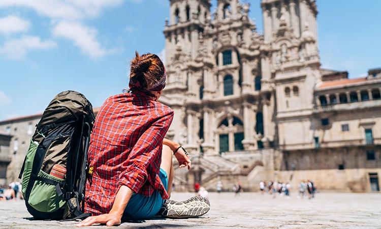 mochileira Santiago de Compostela