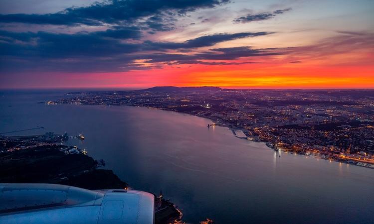 Vista do avião em Portugal