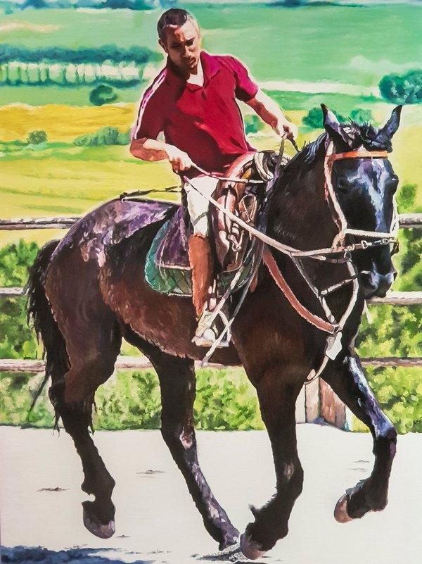 Quadro con cavallo e cavaliere - Sandra Petreni