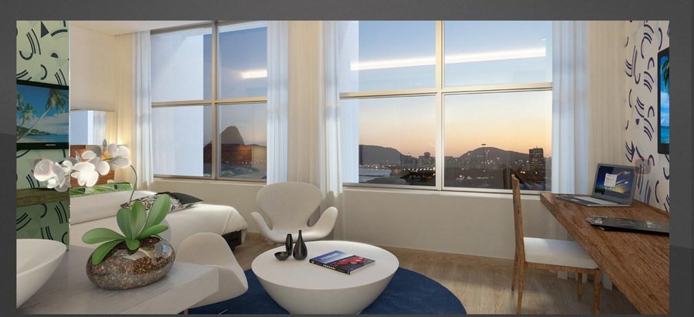 Um dos apartamentos com vista para a Baía de Guanabara