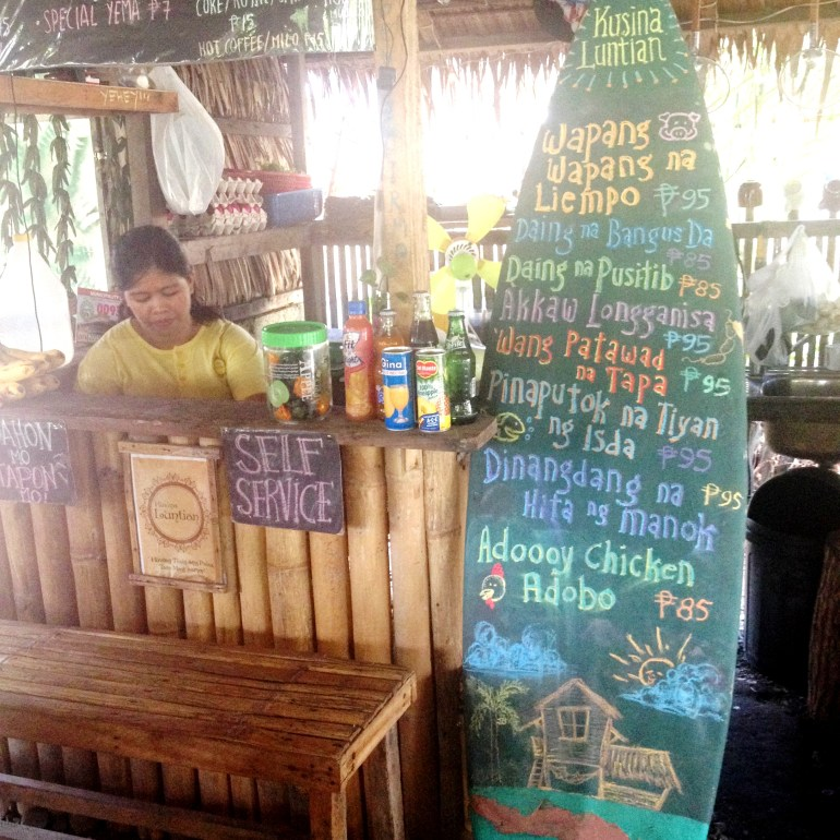 Kusina Luntian's famous Menu on a Surfboard