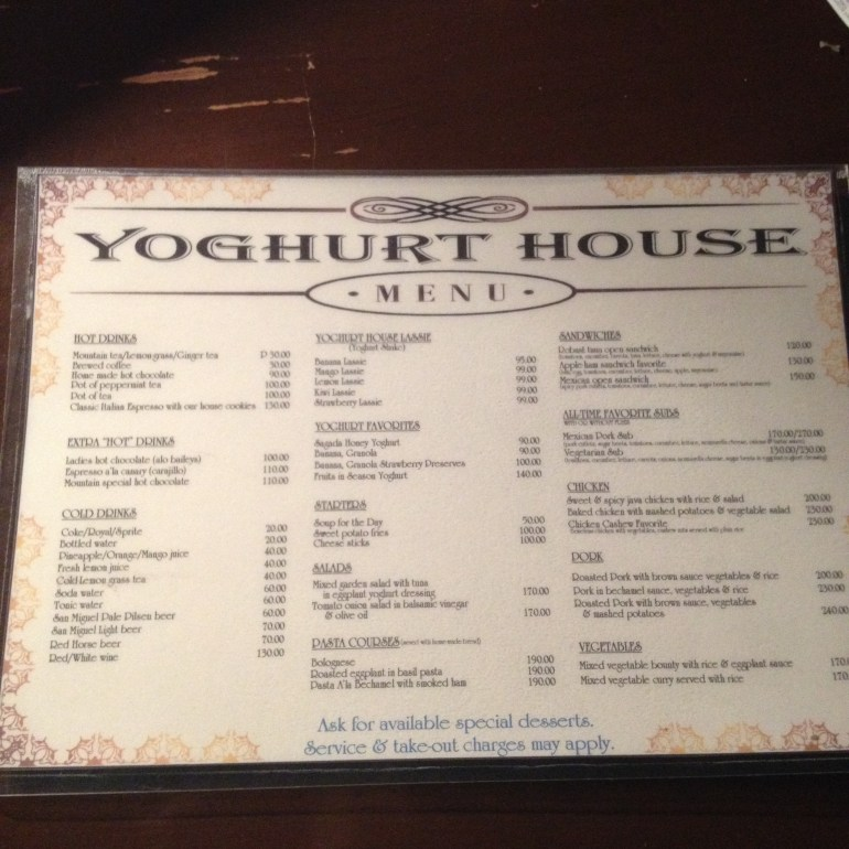 The Yoghurt House Menu - Sagada
