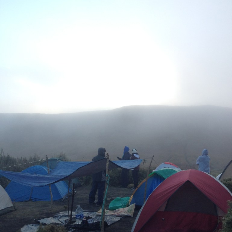 Pitched tents in Station Three - Mount Pulag