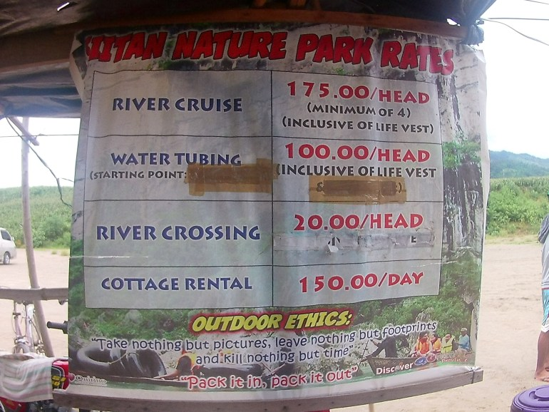 Siitan Nature Park's Tour Rates - Quirino