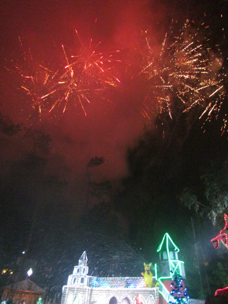 Fireworks light the sky during the Christmas Village Grand Opening last November 11, 2016