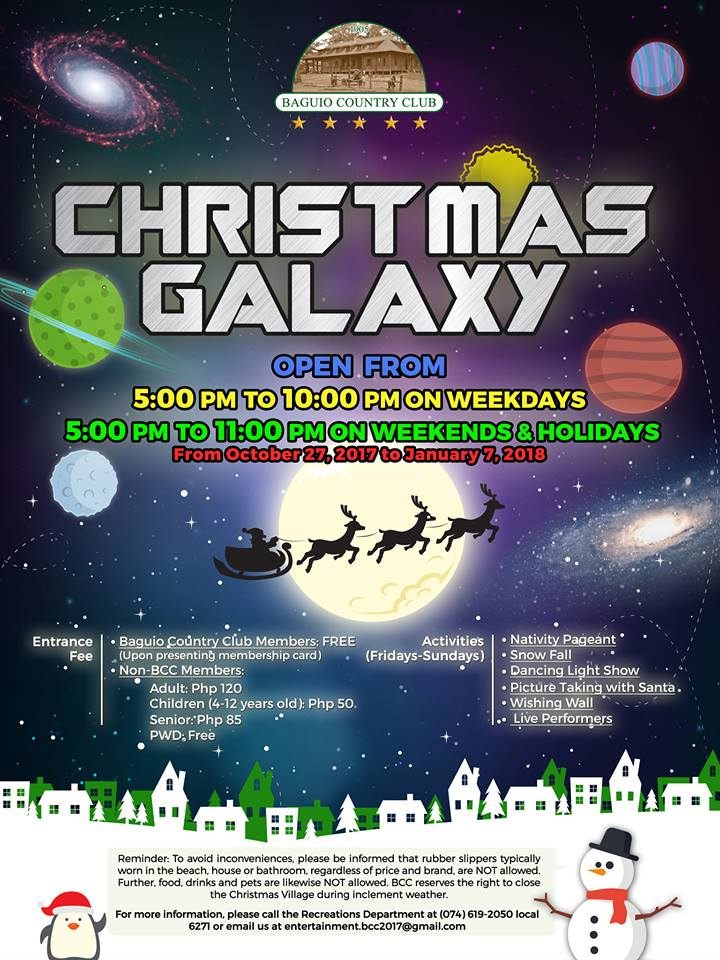 Baguio Country Club Galaxy Christmas Village 2017 Promo Poster | Turista Boy