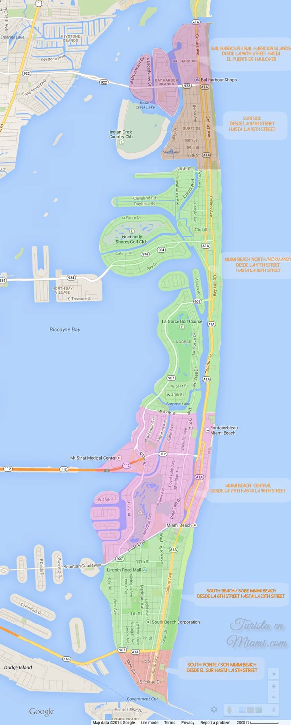 Mapa de Playas de Miami Beach