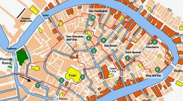 (mapa de Santa Croce e San Polo com uma sugestão de trajeto até chegar a Rialto)
