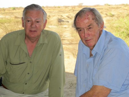 Donald Johanson (left) and Richard Leakey at a recent visit to TBI's Ileret research facility. Photo credit: Raymonde Bonnefille.