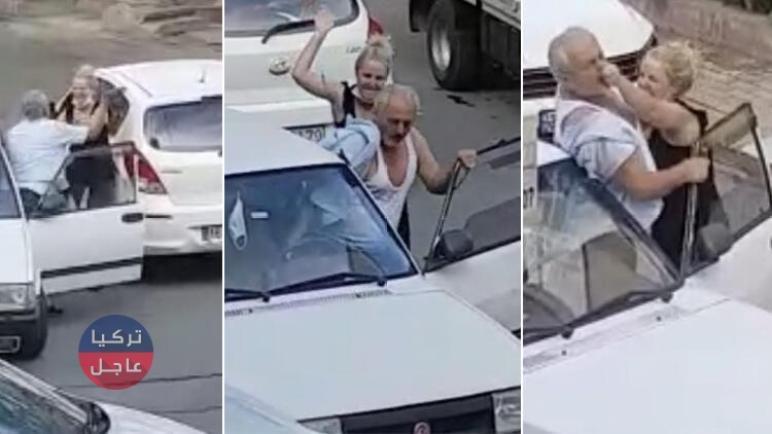 رجل يصفع امرأة والأخيرة تمزقه ضرباً (شاهد بالفيديو)