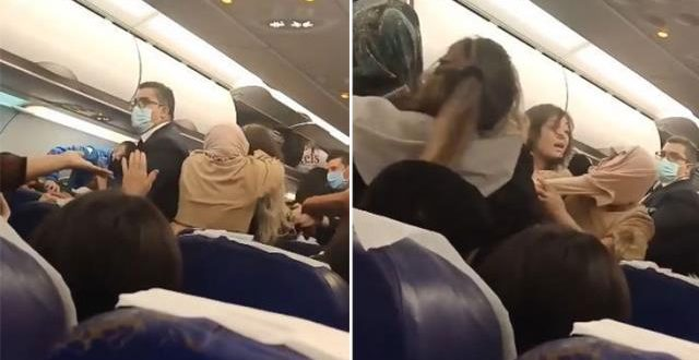 فيديو .. شـ.ـجار وصـ.ـفع وعـ.ـراك بالايدي على متن طائرة كانت متجهة من تونس إلى اسطنبول