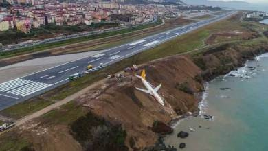 Turkey, stranded plane, edge of cliff, Black Sea, Trabzon, Pegasus