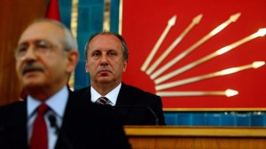 CHP Chairman Kilicdaroglu (Front) and CHP presidential candidate Muharrem Ince