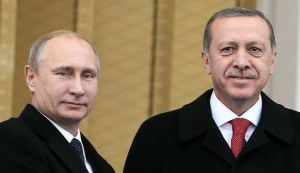 Presidents of Russia and Turkey pose together.