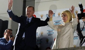 Erdogan delivers election speech in Ankara.