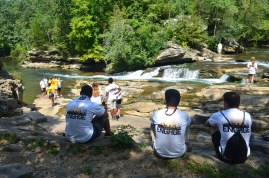 """Birmingham-Southern College's ENGAGE progragam students enjoy the """"Falls"""" after a hard day of helping to keep TCNP beautiful"""