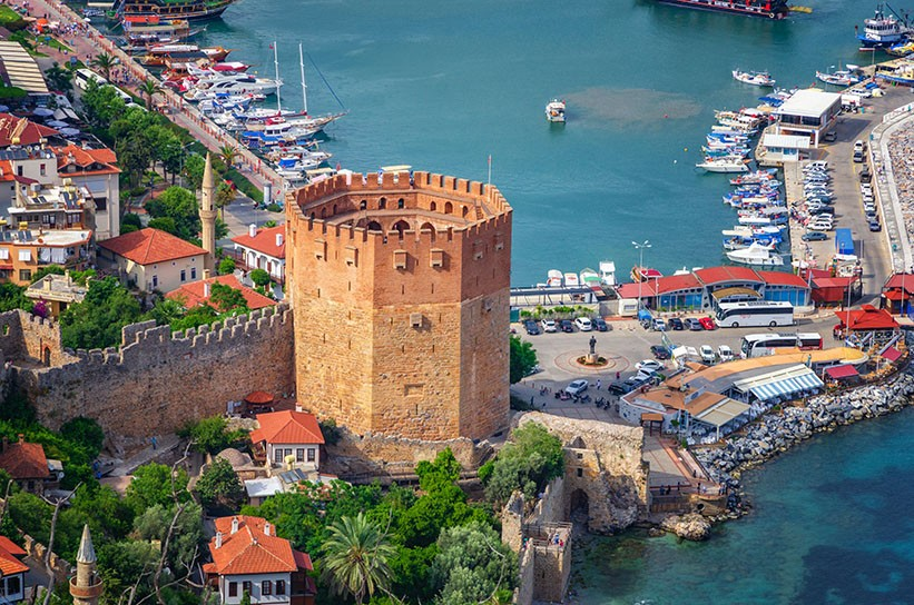 iew of Alanya and Kyzil Kule from the Alanya fortress. Turkey