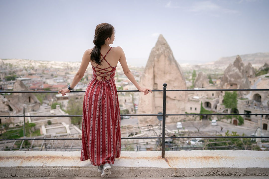 women standing from the back with Cappadocia, goreme