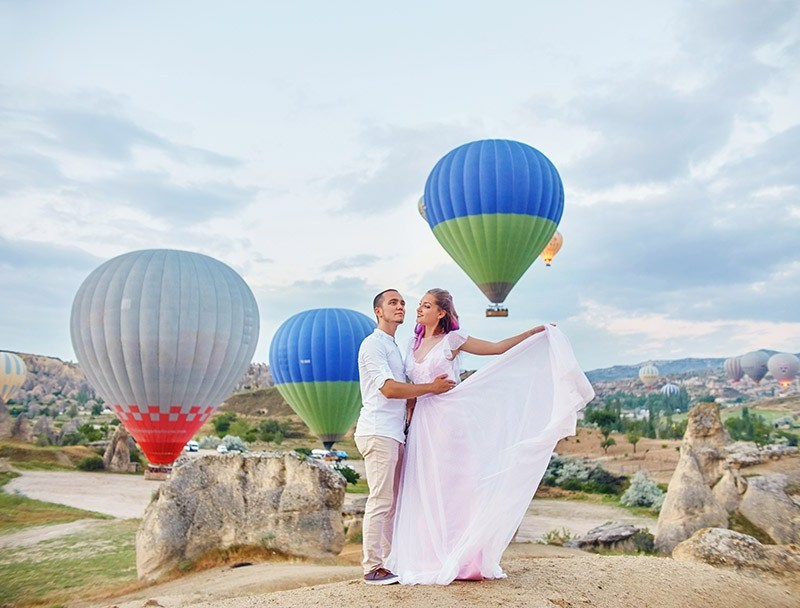 background of Hot air balloons in Cappadocia. Man and a woman