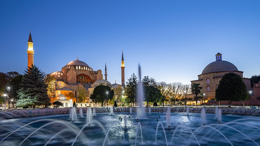 Panorama view of Hagia Sofia at night in Istanbul city