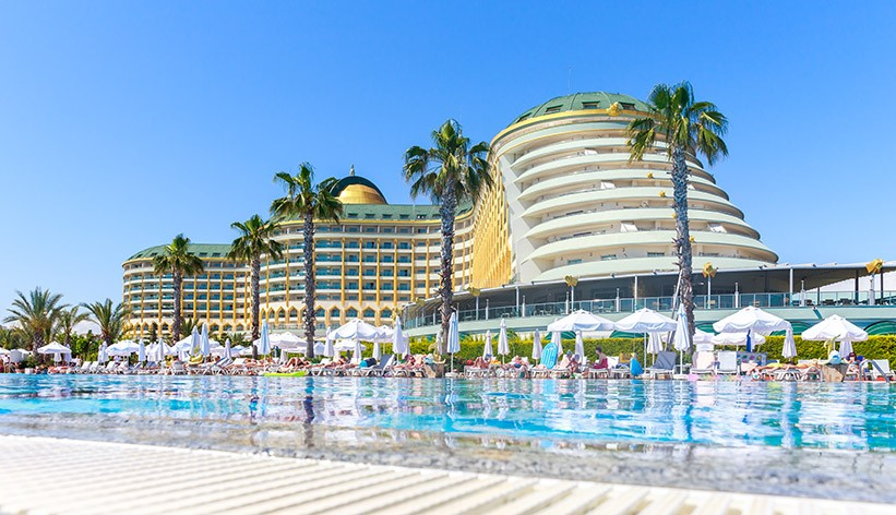 Delphin Imperial hotel with swimming pool on in Antalya.