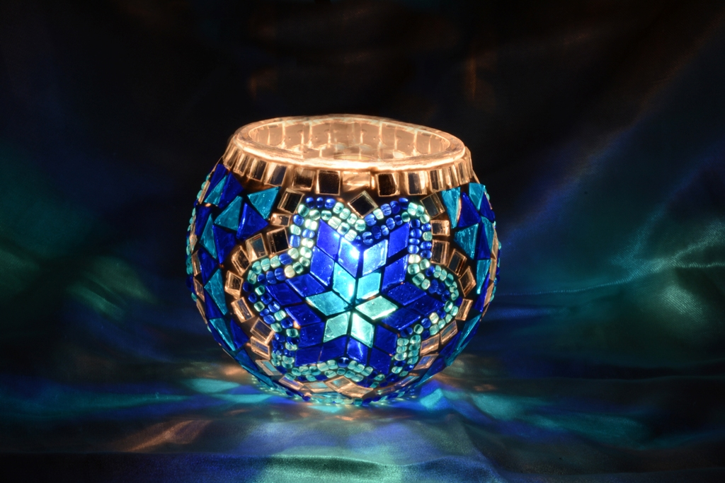 Blue mosaic candle holder
