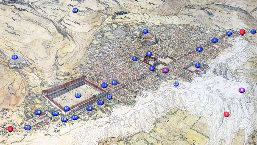 hierapolis Karte detailliert Turkpidya