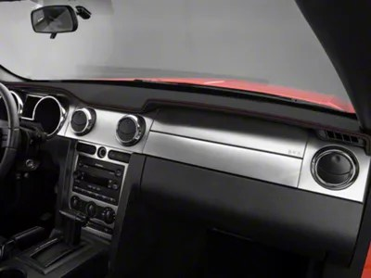 Alterum Mustang Premium Black Leather Dash Cover  Red Stitch 102216 (0509 All)