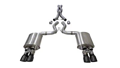 corsa xtreme cat back exhaust with black tips 18 21 gt fastback w active exhaust